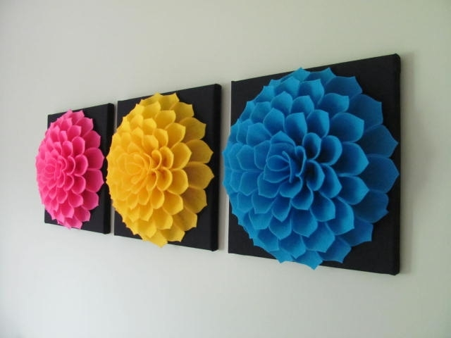 Wall Art Designs: Fabric Wall Art Felt Flower Wall Art Pattern Within Diy Fabric Flower Wall Art (Image 15 of 15)