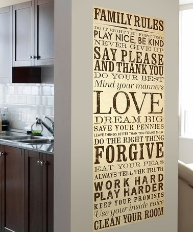 Wall Art Designs: Family Rules Wall Art Typography Style Family Inside Canvas Wall Art Family Rules (Image 14 of 15)