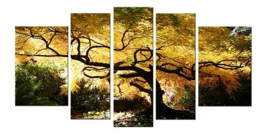 Wall Art Designs: Five Piece Canvas Wall Art Maple Tree Nature Throughout Nature Canvas Wall Art (Image 12 of 15)