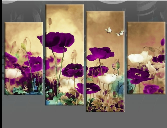 Wall Art Designs: Floral Canvas Wall Art Field Poppies Floral 4 Within Purple Flowers Canvas Wall Art (View 7 of 15)
