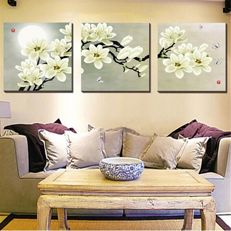 Wall Art Designs: Floral Canvas Wall Art Magnolia Wall Art Simple In Kirkland Abstract Wall Art (View 5 of 15)