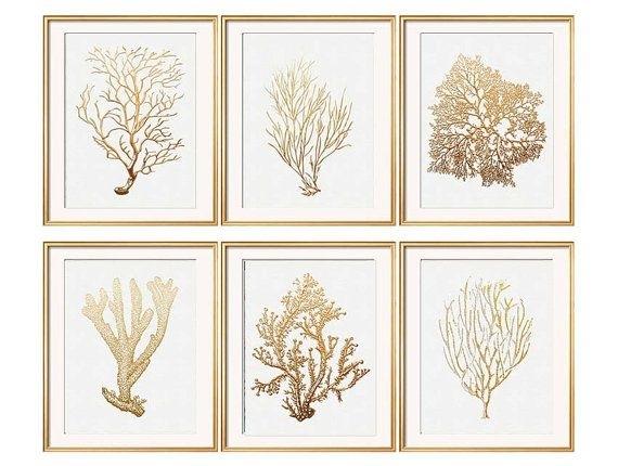 Wall Art Designs: Framed Wall Art Sets Gold Coral Print Set Of Six For Framed Art Prints Sets (Image 13 of 15)