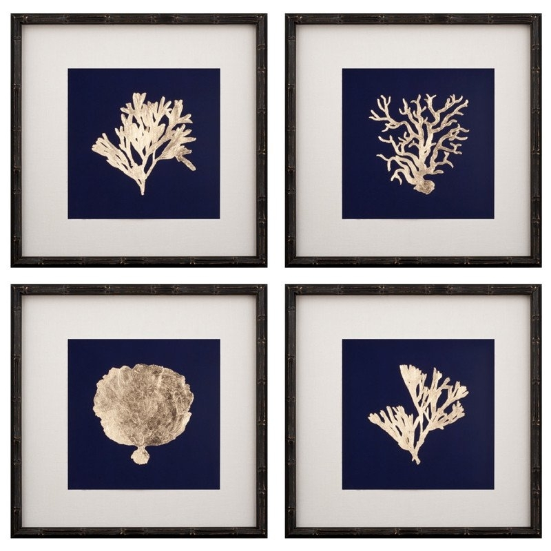 Wall Art Designs: Framed Wall Art Sets Gold Coral Print Set Of Six Intended For Framed Coral Art Prints (View 15 of 15)