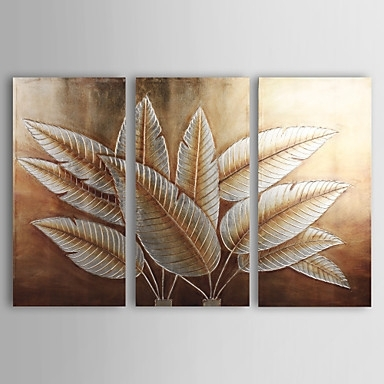 Wall Art Designs: Gold Wall Art Hand Painted Canvas Painting Inside Abstract Leaves Wall Art (View 3 of 15)