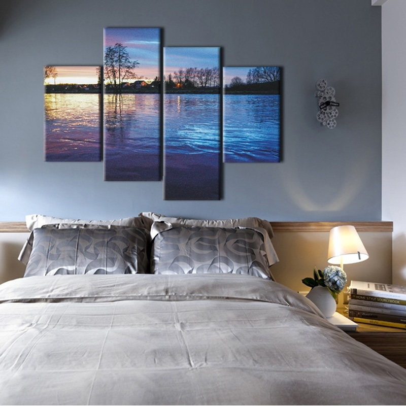 Wall Art Designs: Horizontal Wall Art Muti Panel Nature Scenery With Regard To Bedroom Canvas Wall Art (Image 29 of 32)