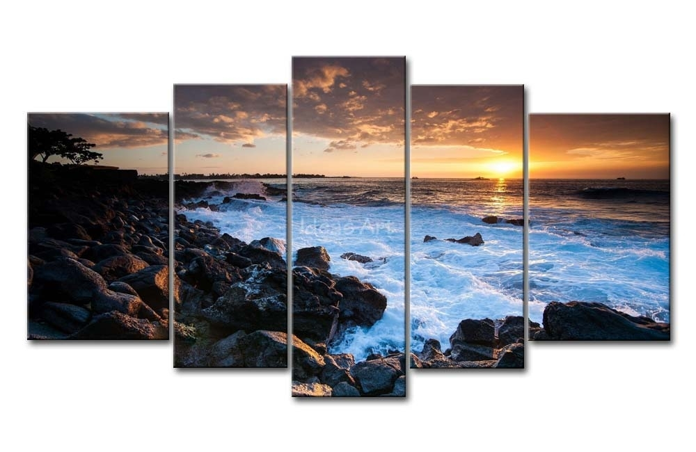 Wall Art Designs: Large Canvas Wall Art 5 Piece Wall Art Painting In Hawaii Canvas Wall Art (Image 14 of 15)