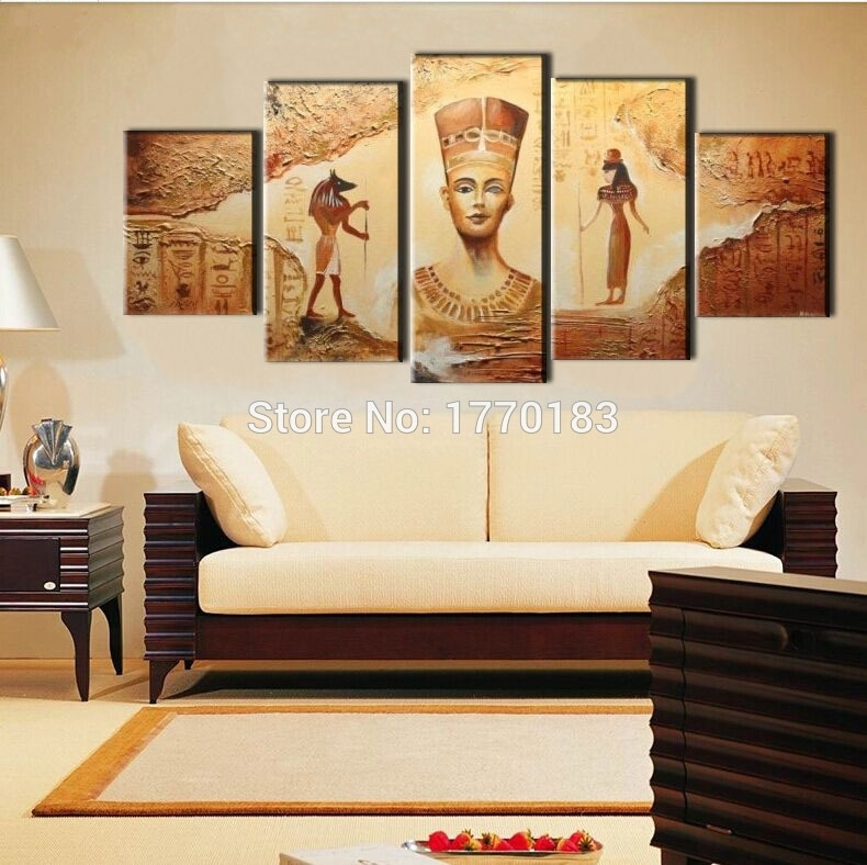 Wall Art Designs: Large Framed Wall Art 4 Styles 5Pcs Abstract Regarding Egyptian Canvas Wall Art (View 12 of 15)