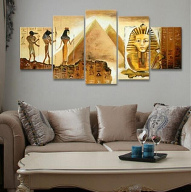 Wall Art Designs: Large Framed Wall Art 5 Piece Wall Decor Picture Throughout Egyptian Canvas Wall Art (View 2 of 15)