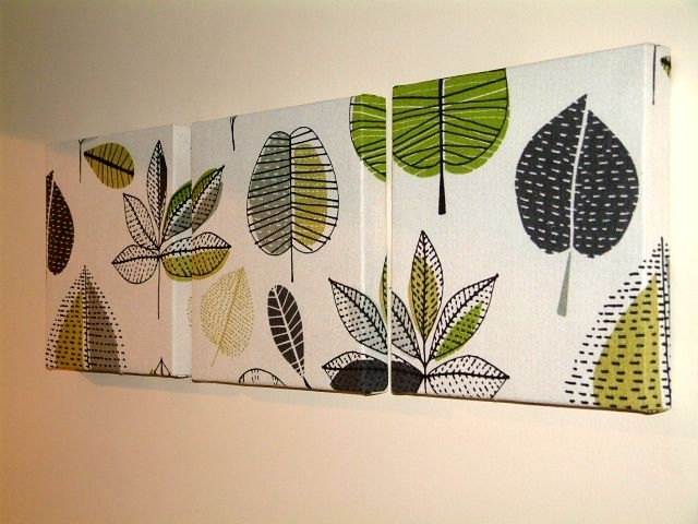 Wall Art Designs: Leaf Wall Art Set Of 3 Contemporary Modern For Contemporary Fabric Wall Art (View 15 of 15)