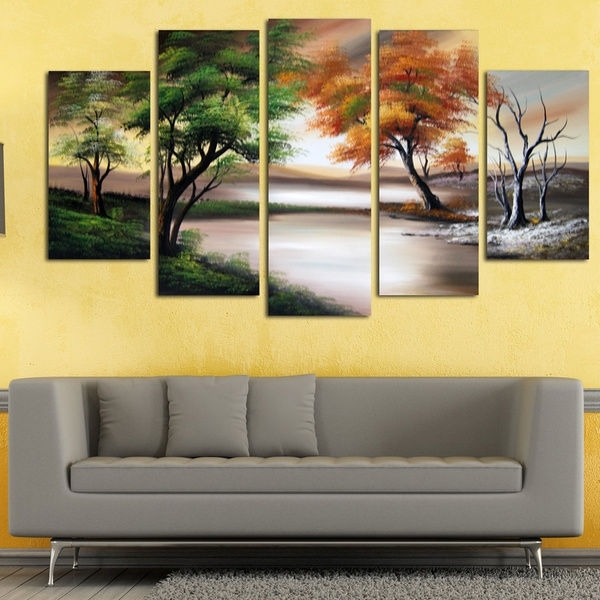 Wall Art Designs: Nature Wall Art Abstract Oil Canvas Paintings Inside Abstract Nature Wall Art (View 10 of 15)