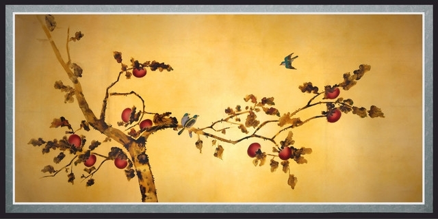 Wall Art Designs: Oriental Wall Art Birds On Plum Tree Canvas Wall inside Birds Canvas Wall Art