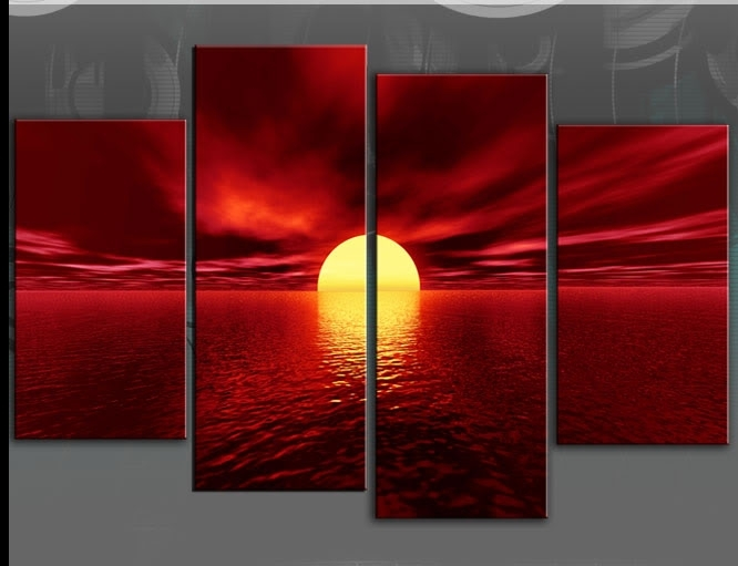 Wall Art Designs: Red Canvas Wall Art Hand Painted Large Seascape Regarding Large Red Canvas Wall Art (View 8 of 15)