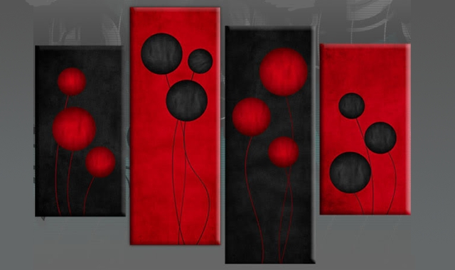 Wall Art Designs: Red Canvas Wall Art Red Black Circles Flowers Throughout Large Red Canvas Wall Art (View 13 of 15)