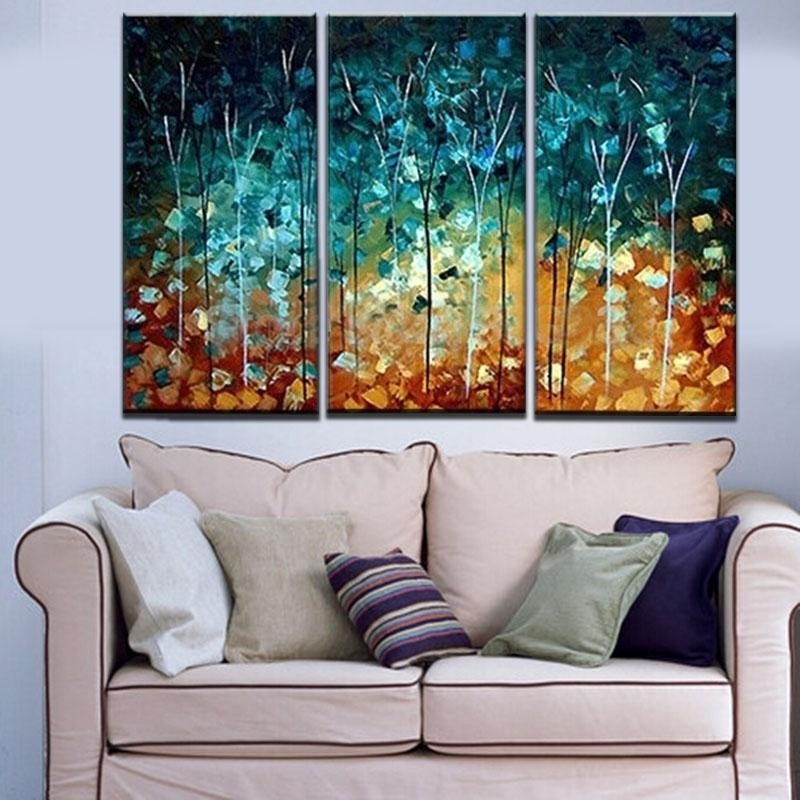 Wall Art Designs: Three Piece Wall Art Hand Made Painting Thin Inside Abstract Canvas Wall Art Iii (View 2 of 15)