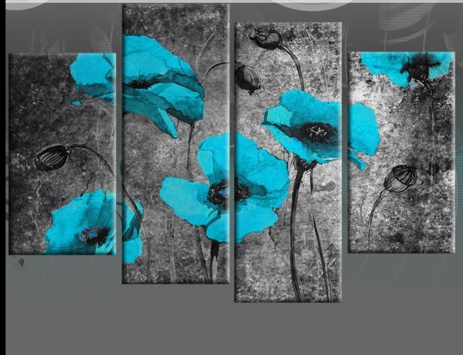 Wall Art Designs: Triptych Wall Art Extra Large 60 Inch Turquoise Regarding Blue Canvas Wall Art (View 8 of 15)