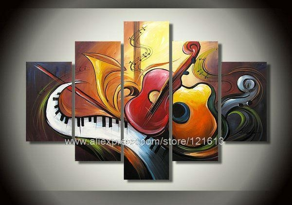 Wall Art Designs: Wall Art Canvas Abstract Art Music Theme Wall With Music Canvas Wall Art (Image 12 of 15)
