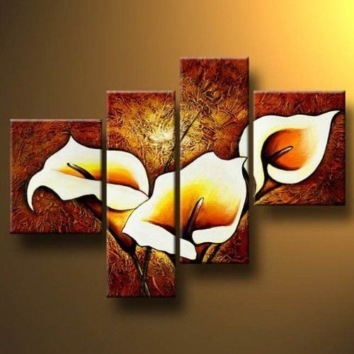 Wall Art Designs: Wall Art Paintings 4 Panels Modern Hand Painted Intended For Hand Painted Canvas Wall Art (Image 13 of 15)