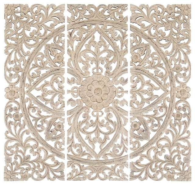 Wall Art Designs: Wood Carved Wall Art Set Of 3 Carved Wood Wall With Regard To Antique Wall Accents (Image 14 of 15)