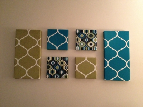 Wall Art: Fabric Covered Canvases | Canvases, Layouts And Fabrics Throughout Canvas And Fabric Wall Art (Image 14 of 15)