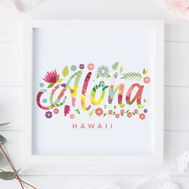 Wall Art Floral Aloha Hawaii Canvas Painting Watercolor Tropic Pic within Hawaii Canvas Wall Art