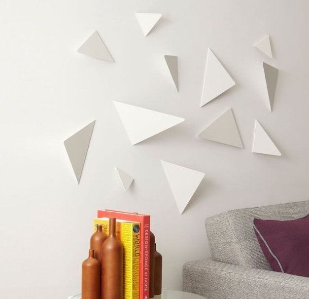 Wall Art Ideas Design : White Triangle Geometric Wall Art Abstract Within Geometric Fabric Wall Art (View 5 of 15)