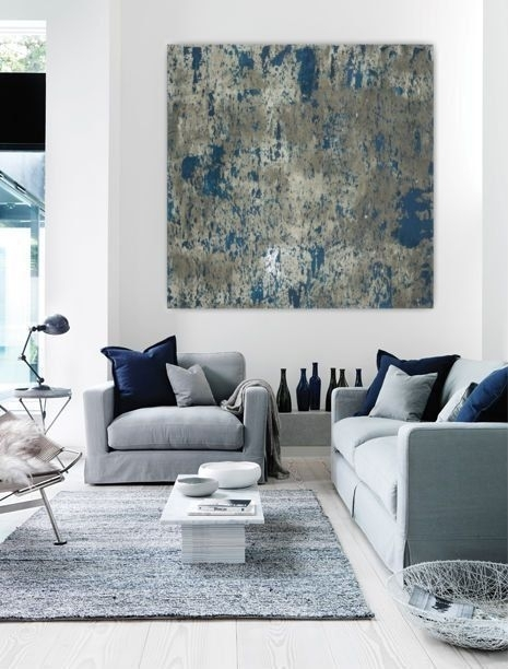 Wall Art Large Abstract Painting Teal Blue Navy Grey Gray White With Regard To Giant Abstract Wall Art (Image 15 of 15)