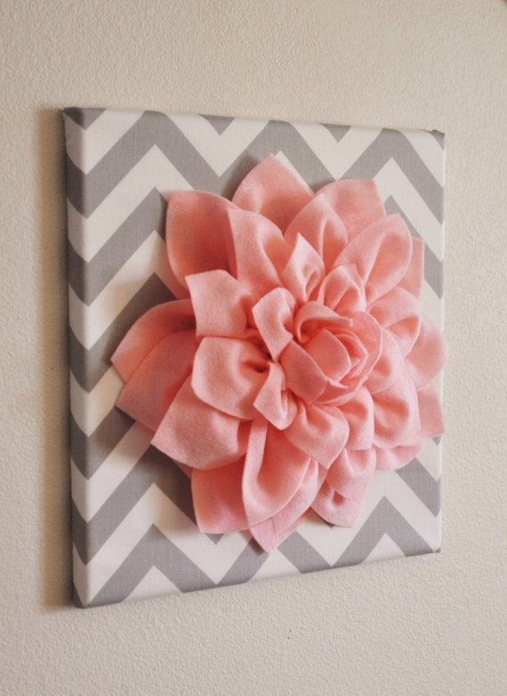 Wall Art  Light Pink Dahlia On Gray And White Chevron 12 X12 With Regard To Fabric Flower Wall Art (Image 14 of 15)