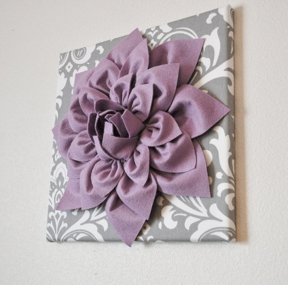 Wall Art Lilac Purple Dahlia On Gray And White Damask 12 Intended For Lilac Canvas Wall Art (View 4 of 15)
