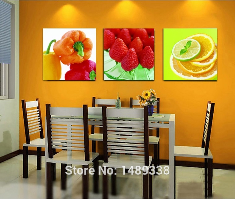 Wall Art: New Design Canvas Kitchen Wall Art Kitchen Prints And Inside Orange Canvas Wall Art (Image 15 of 15)