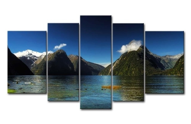 Wall Art Painting Pictures 5 Piece Milford Sound New Zealand Blue Throughout Lake District Canvas Wall Art (View 15 of 15)