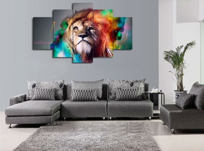Wall Art Paintingnumbers Colour Lion Animal Canvas Prints Throughout Living Room Canvas Wall Art (View 10 of 15)