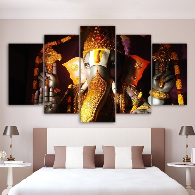 Wall Art Pictures Home Living Room Decor Ganesha Poster Frame 5 Throughout India Canvas Wall Art (Image 10 of 15)