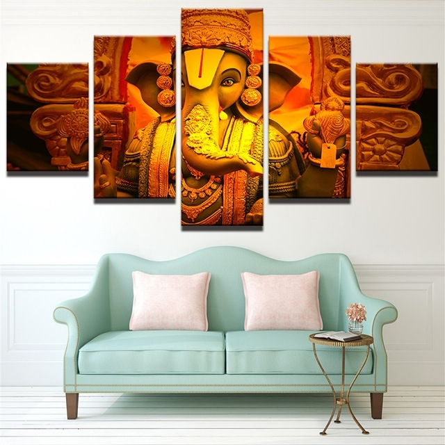 Wall Art Pictures Living Room Frame Modern Hd Printed 5 Piece In India Canvas Wall Art (Image 11 of 15)