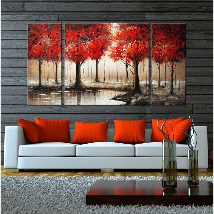 Wall Art Sets For Living Room | Fireplace Living Inside Large Red Canvas Wall Art (View 11 of 15)