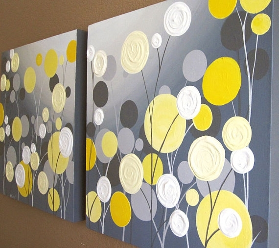 Wall Art Textured Yellow And Grey Abstract Flower Garden Two With Regard To Yellow And Grey Abstract Wall Art (Image 12 of 15)