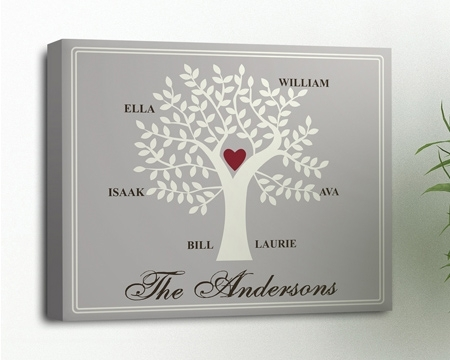 Wall Art: Unique Gallery Of Personalized Family Tree Wall Art With Regard To Love Canvas Wall Art (View 7 of 15)