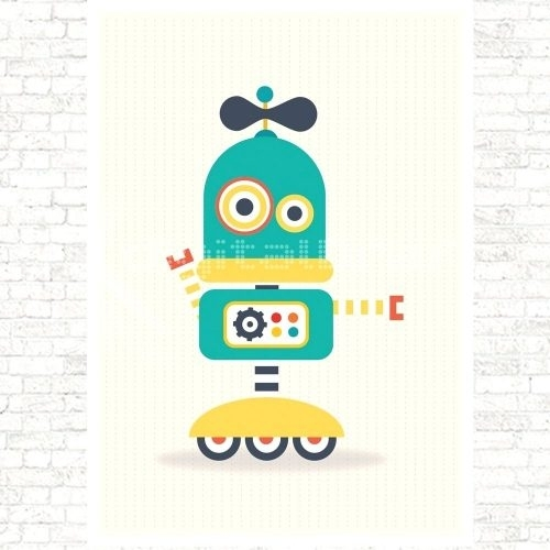 Wall Arts ~ Retro Robot Wall Art Kid Robot Wall Art Robot Canvas Inside Robot Canvas Wall Art (View 12 of 15)