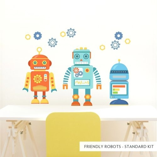 Wall Arts ~ Standard Friendly Robots Printed Wall Decal Robot With Regard To Robot Canvas Wall Art (View 3 of 15)