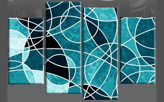Wall Canvas Circles | Circles Upon Circles Teal Abstract 4 Panel Pertaining To Blue Canvas Wall Art (View 9 of 15)