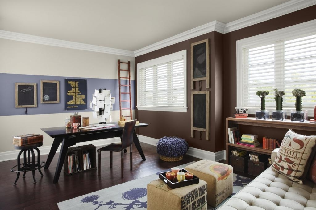 Wall Dawning An Trendy Color Schemes Home Office Wall Rich Brown In Wall Accents Color Combinations (Image 14 of 15)