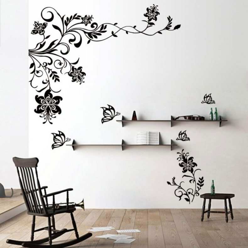 Wall Decor Awesome Stickers To Decorate Walls 2018 Black Flowers Pertaining To Wall Accents Stickers (View 10 of 15)