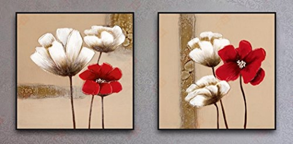 Wall Decor Canvas Prints Wieco Art Red And White Flowers Black For Canvas Wall Art Of Flowers (Image 14 of 15)