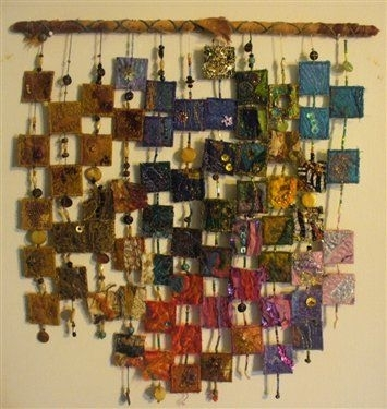 Wall Hanging Made From Swapped Inchies | Fabrics, Walls And Fiber Art Regarding Fabric Art Wall Hangings (Image 15 of 15)