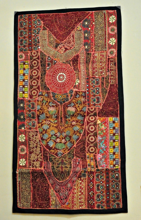 Wall Hanging,tapestry,table Runner,wall Decor,patchwork Wall For Vintage Textile Wall Art (View 2 of 15)