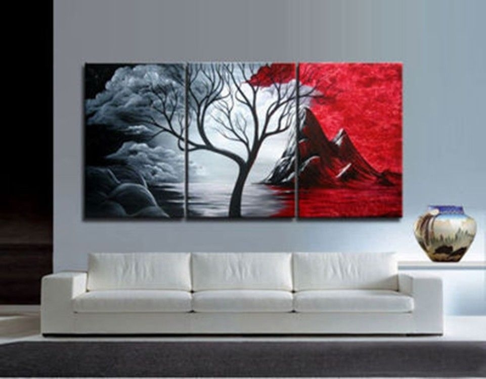 Wall Oil Painting Art Superhuman 3Pieces Modern Abstract Huge Wall Within Modern Abstract Huge Wall Art (Image 15 of 15)