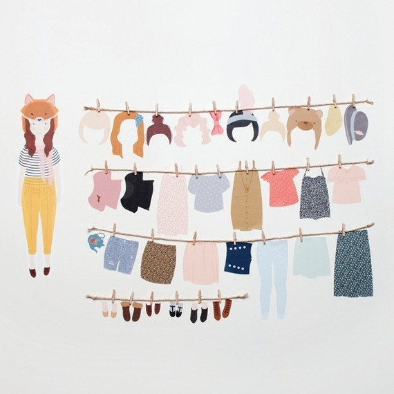 Wall Stickers Paper Doll (Reusable And Removable Fabric In Fabric Dress Wall Art (View 5 of 15)