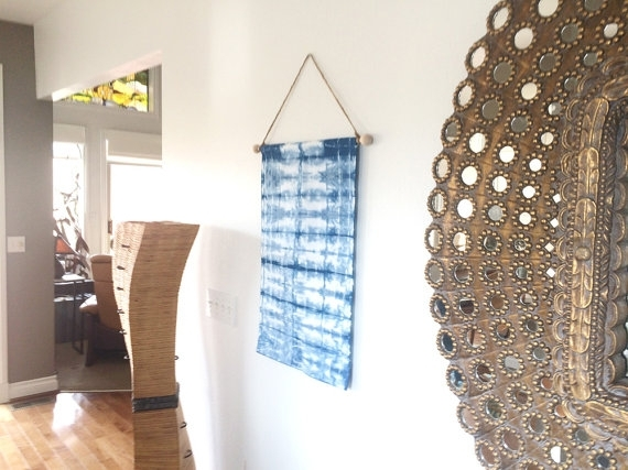 Wall Tapestry, Wall Hanging, Shibori, Indigo, Home Decor, Modern Pertaining To Blue Fabric Wall Art (Image 15 of 15)