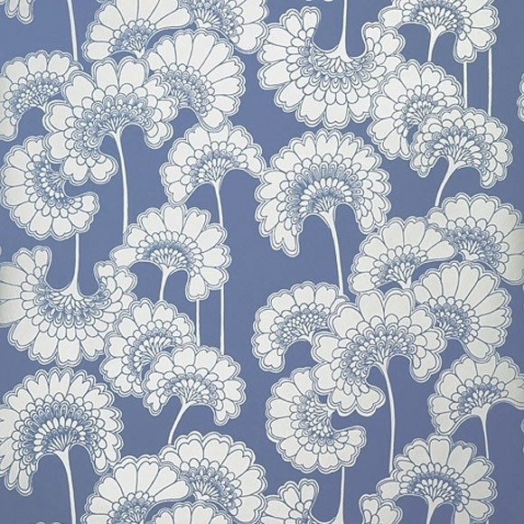 Wallpaper – Florence Broadhurst Blue Japanese Floral | Collected For Florence Broadhurst Fabric Wall Art (View 8 of 15)