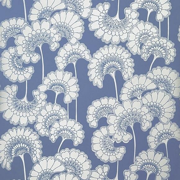 Wallpaper – Florence Broadhurst Blue Japanese Floral | Collected For Florence Broadhurst Fabric Wall Art (Image 15 of 15)