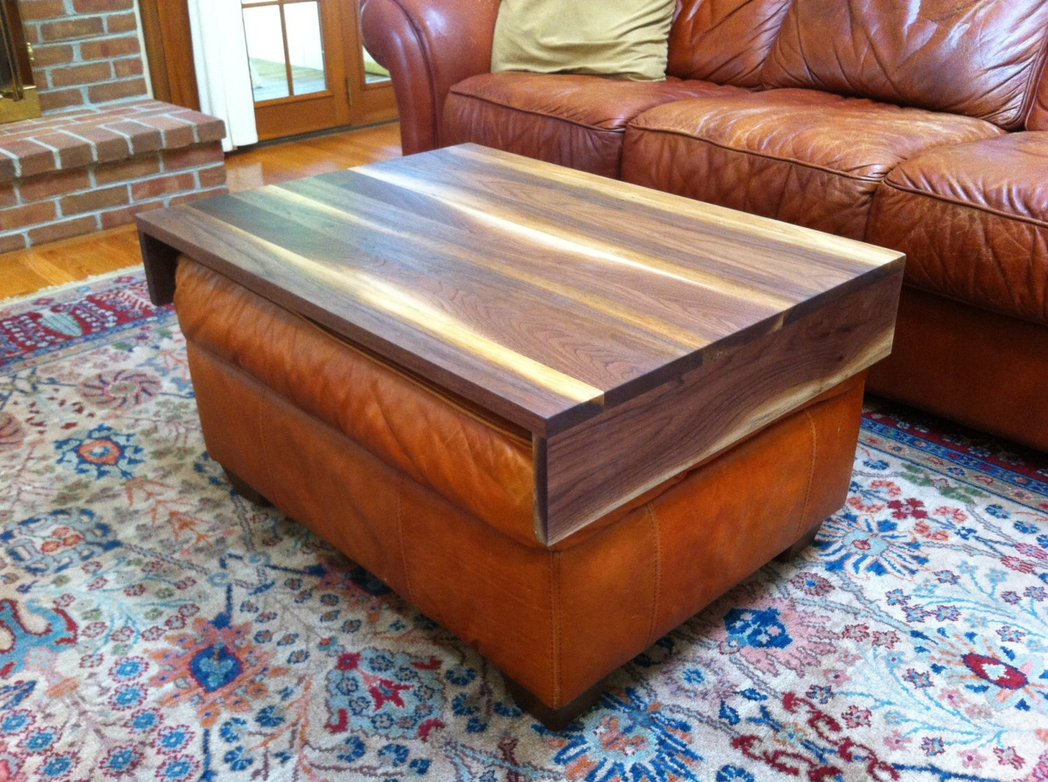 Walnut Ottoman Tray – Wood Ottoman Wrap Tray – Tv Tray Table With Regard To Ottomans With Tray (Image 10 of 10)